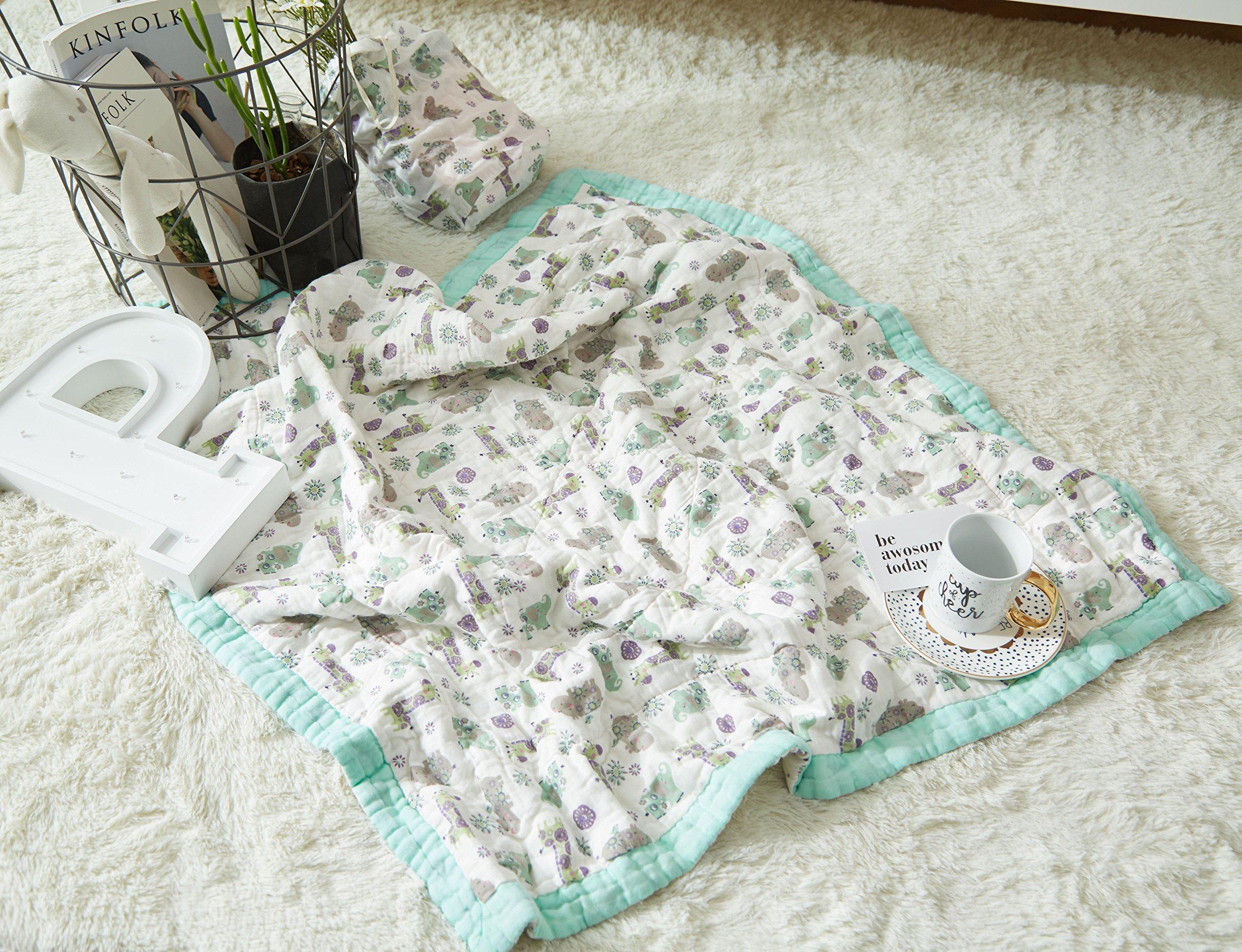J-pinno Baby Elephant Giraffe Nursery Muslin Cotton Bed Quilt Blanket Crib Coverlet 43.5'' X 43.5'' (elephant)