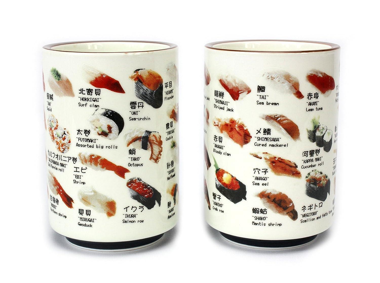 Japonais Sushi Tasse en céramique?pour Saké, Vin de Riz ou thé vert. Deux Tasses. Farang