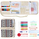 Teamoy Ergonomic Crochet Hooks Set, Canvas Wrap Organizer Roll Up, Knitting Needle Kit with 9pcs 2mm to 6mm Soft Grip Crochets and complete Accessories, Functional and Easy to Carry, Bohemian