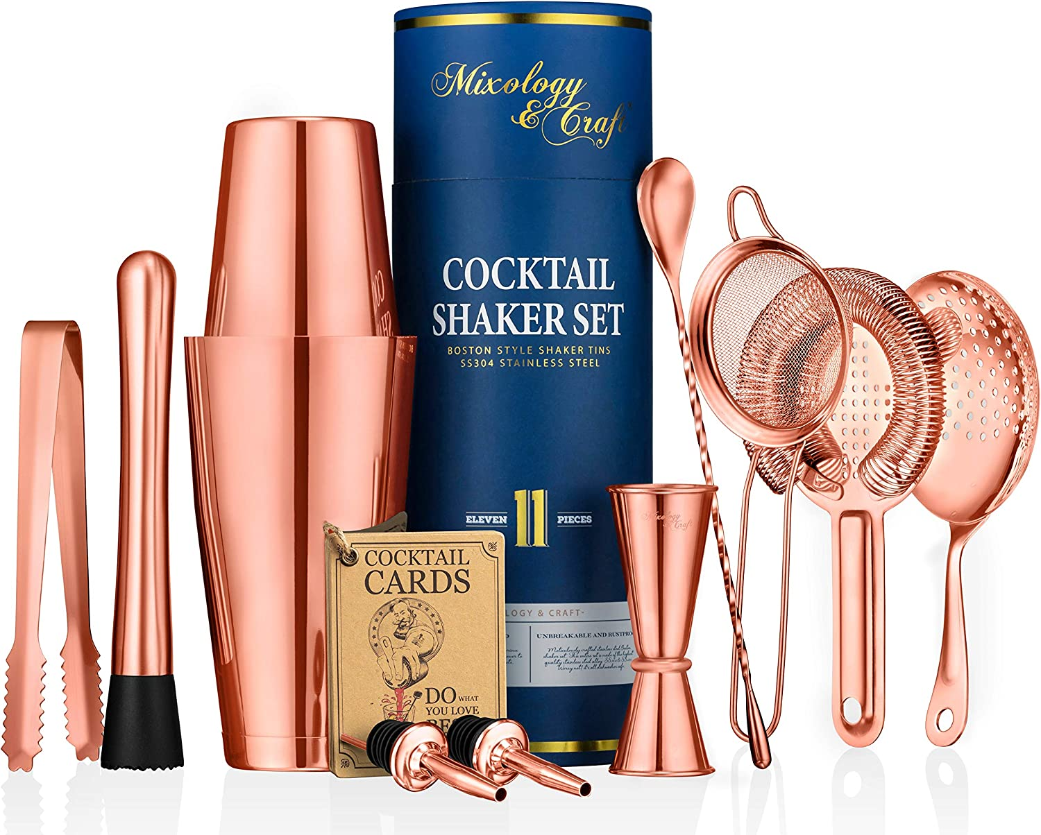 11-piece Cocktail Shaker Set | Mixology Bartender Kit with Weighted Boston Shaker and Bar Tools Set For Home or Professional Bartending | Best Cocktail Set for Awesome Drink Mixing Experience (Copper)
