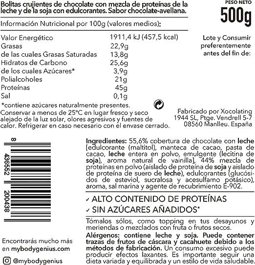BODY GENIUS Protein Crunch (Chocoavellana). 500g. Cereales Proteicos. Bolitas de Proteína Recubiertas de Chocolate Sin Azúcar. Bajo en Hidratos. Snack ...