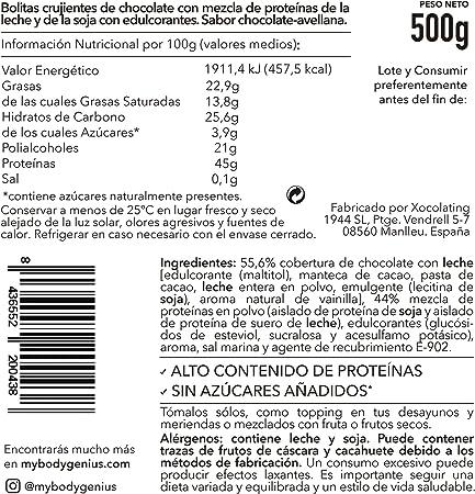 BODY GENIUS Dúo Protein Crunch (Chocoavellana). 2x500g. Cereales Proteicos. Bolitas de Proteína Recubiertas de Chocolate Sin Azúcar. Bajo en Hidratos. ...