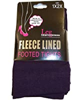 Leg Impressions Fleece Lined Extra Warm Footed Tights - EGGPLANT-ML