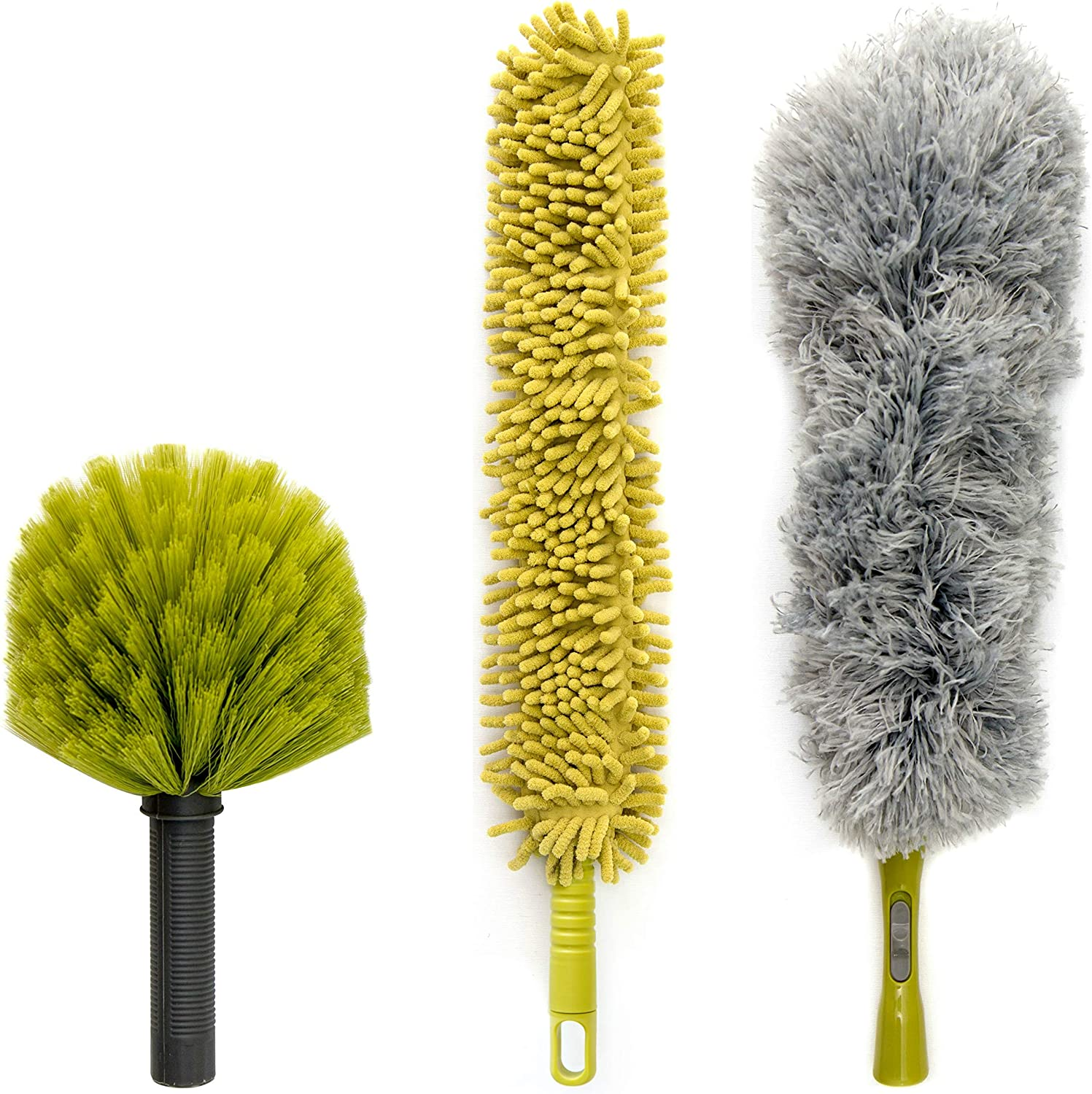 DocaPole Dusting Kit for Extension Pole or by Hand | Cleaning Kit Includes 3 Dusting Attachments | Cobweb Duster | Microfiber Feather Duster | Flexible Chenille Ceiling Fan Duster