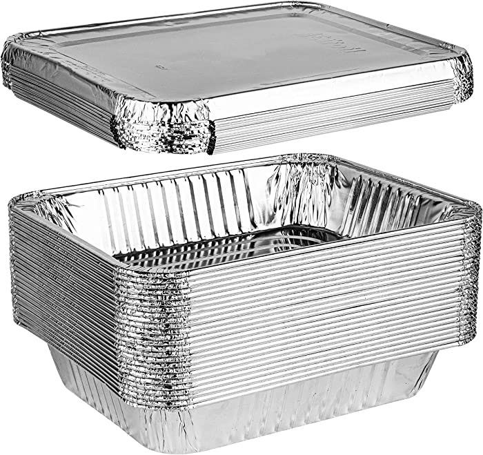 Plasticpro Disposable 9 x 13 Aluminum Foil Pans With Lids Half Size Deep Steam Table Bakeware - Cookware Perfect for Baking Cakes, Bread, Meatloaf, Lasagna Pack of 25 Pans & 25 Lids