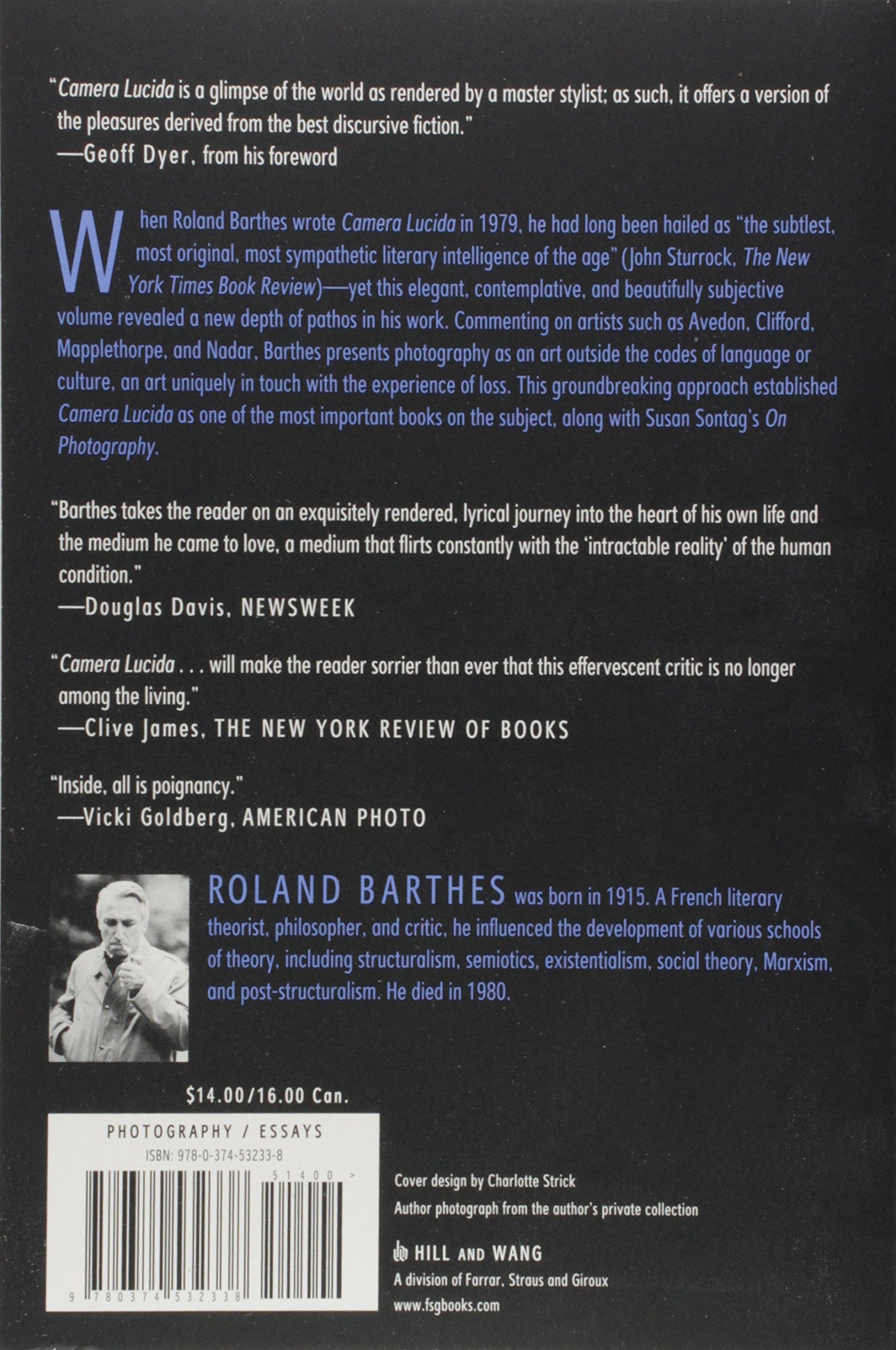 Camera Lucida: Reflections on Photography: Roland Barthes, Richard Howard:  8601417171455: Amazon.com: Books