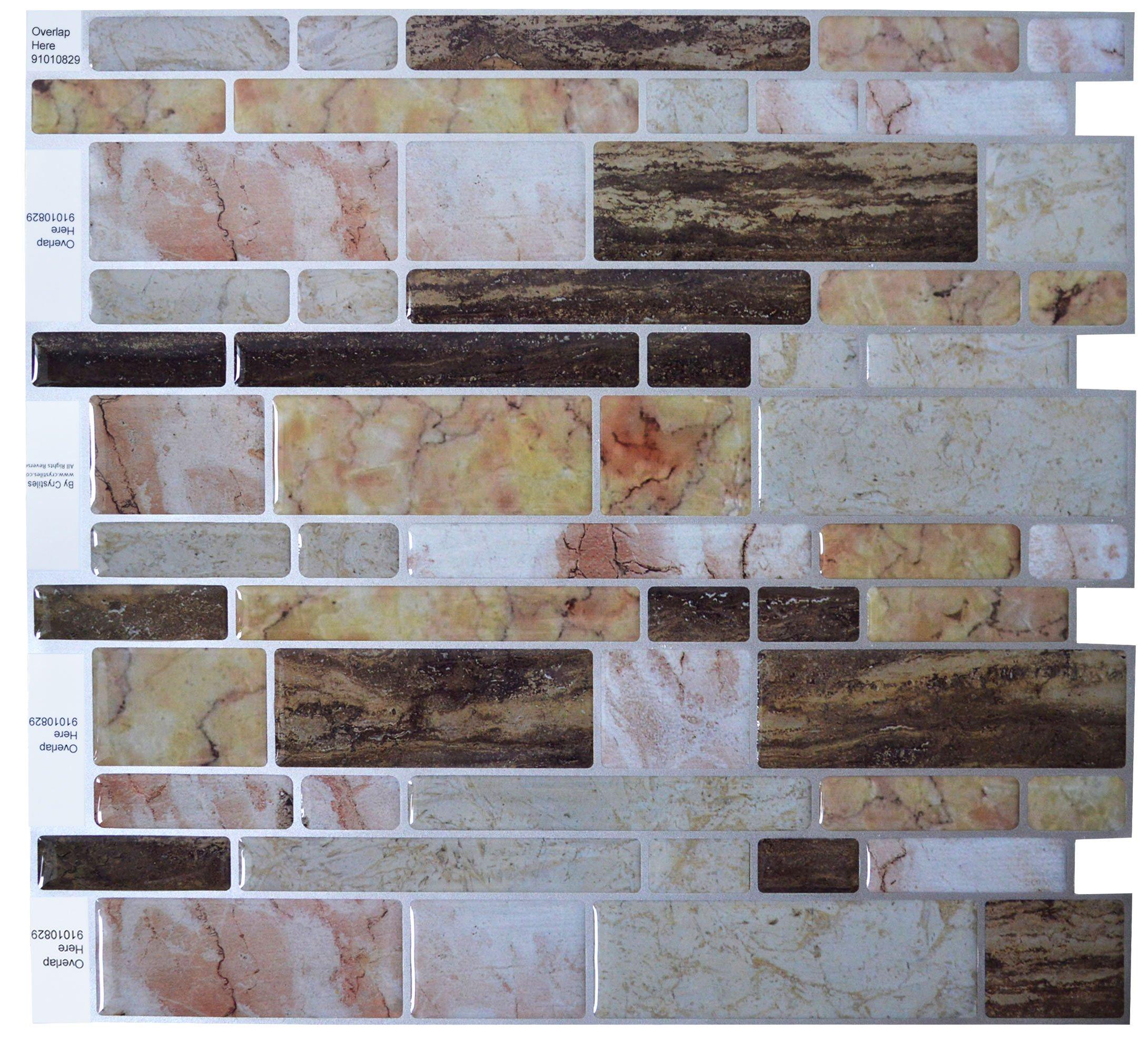 crystiles peel and stick self adhesive vinyl wall tiles multi color marble st ebay. Black Bedroom Furniture Sets. Home Design Ideas