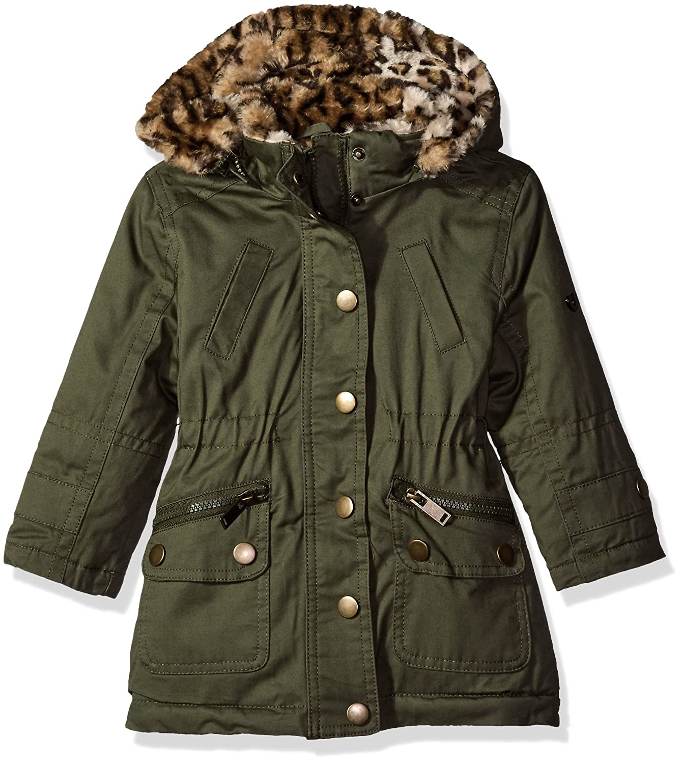 Urban Republic Girls' Cotton Twill Anorak Jacket with Faux Fur Hood 5401