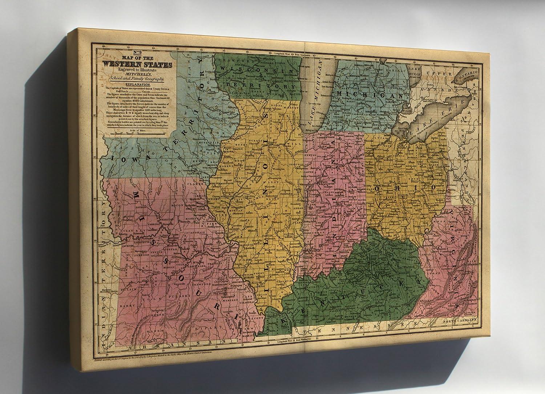 Amazon.com : Canvas 24x36; Map Missouri Illinois Indiana Ohio ... on
