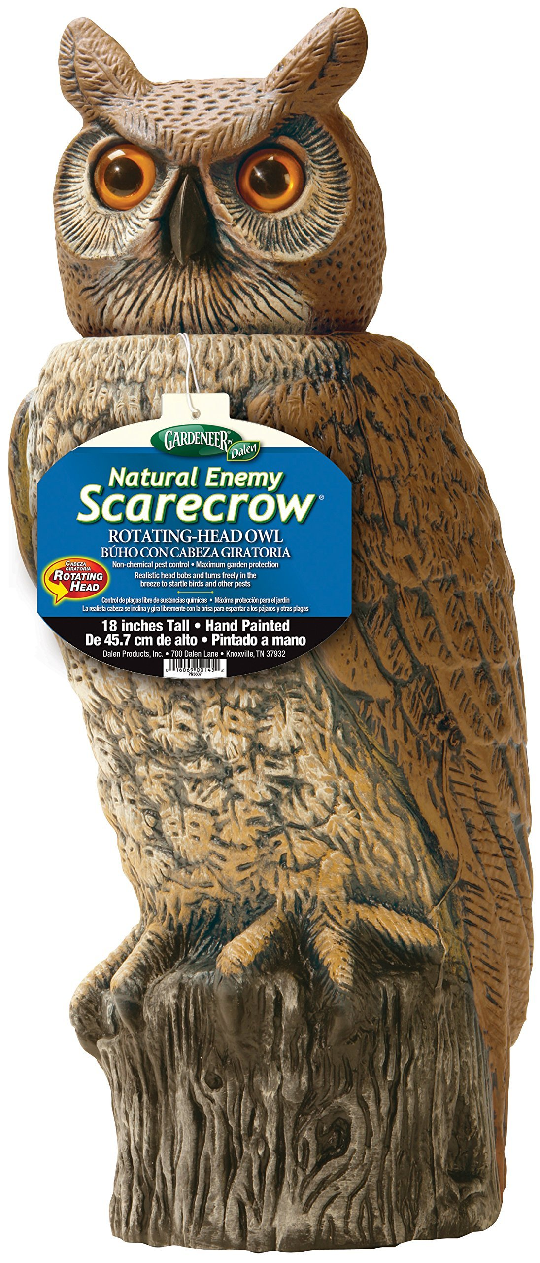 Gardeneer By Dalen RHO4 Natural Enemy Scarecrow Rotating Head Owl, Brown, 18 In. H. (Renewed) by Dalen