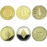 Bitcoin-Ethereum-Litecoin-Dash Sammlermünzen 6 Münzen als Set Krypto Währung mit echt-Gold und silber überzogen das ideale Geschenk Münze Sammlermünze