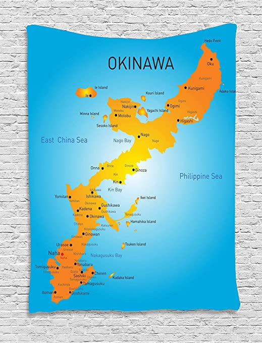 Lunarable Okinawa Tapestry, Japanese Political Map with The Names Far  Eastern Geography Print, Wall Hanging for Bedroom Living Room Dorm Decor,  40\