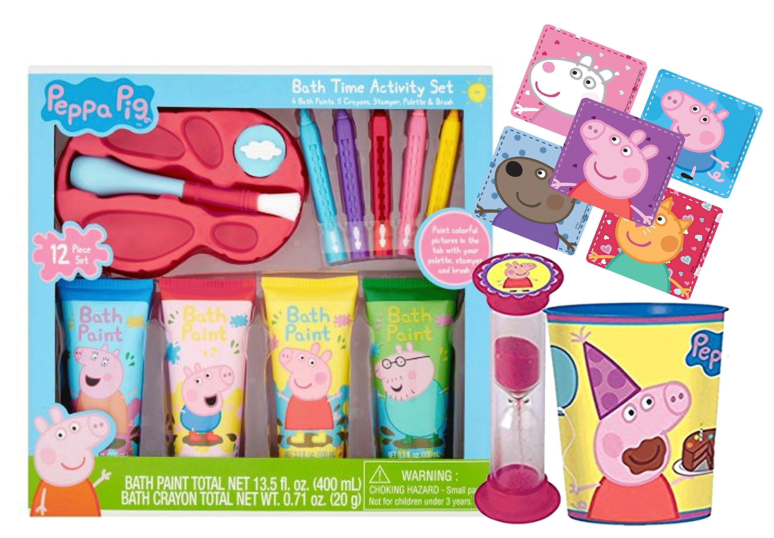 Peppa Pig 12pc Bath Time Activity Paint Gift Set, Bath Scrubby, Rinse Cup & ''Time To Get Out'' Bath Timer! Plus Bonus Peppa Pig Character Stickers!