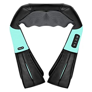 Shiatsu Neck and Back Massager with Soothing Heat, Nekteck Electric Deep Tissue 3D Kneading Massage Pillow for Shoulder, Leg, Body Muscle Pain Relief, Home, Office, and Car Use (Blue)