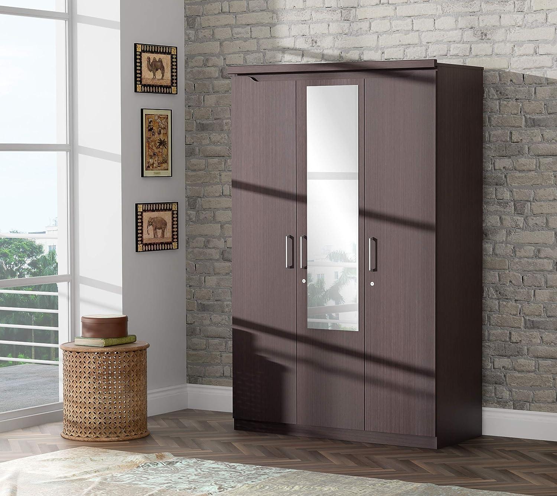 Stylespa Cove 3-Door Wardrobe with Mirror (Bamboo)