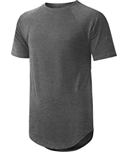 LA Mens Short Sleeve Raglan Longline Hip Hop Tee (Large, la03_Charcoal)