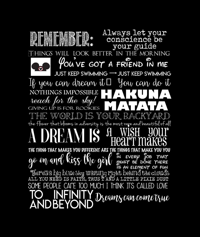 Amazon Favorite Disney Quotes Disney Art Canvas Typography