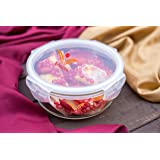 Femora Borosilicate Round Glass Food Storage Container with Air Vent Lid- 380ml, Microwave Safe, Air Tight, Leak Resistant- 1 Year Warranty