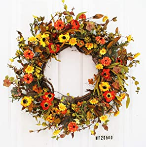NOUVCOO wf20500 24 Inches Silk Fall Wreath for Front-Door-Decor Gift Box Included-Handcrafted Rattan Base-for Autumn & Thanksgiving Day, Style 1