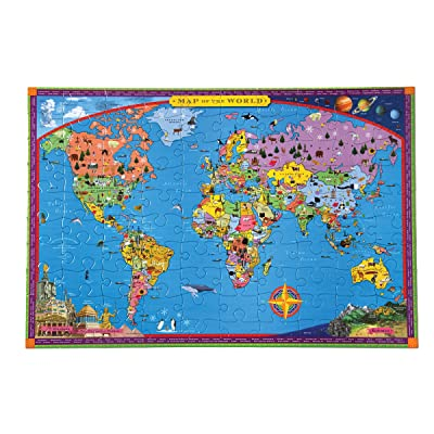 eeBoo World Map Puzzle for Kids, 100 Pieces: Toys & Games