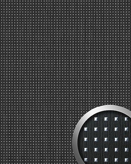 3D QUAD revestimiento mural autoadhesivo diseño cuadrados WallFace 12549 perforados y hoja base madera negra plata