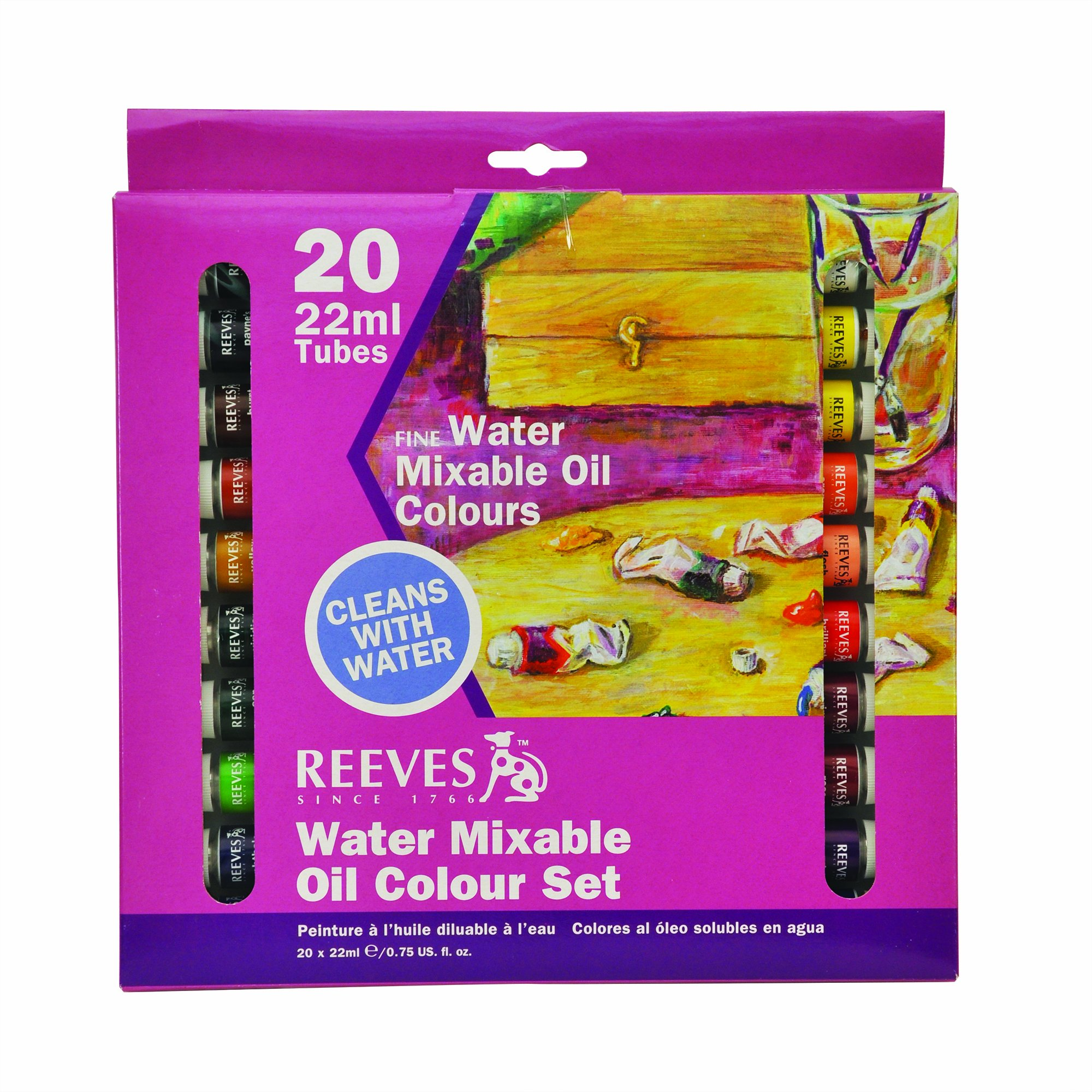 Reeves 20-Pack Water Mixable Oil Color Tube Set, 22ml by Reeves