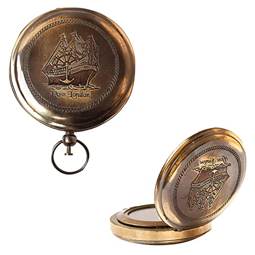 Deluxe Adult Costumes - Nautical Ross London Brass Round Pocket Royal Marine Navigational Compass