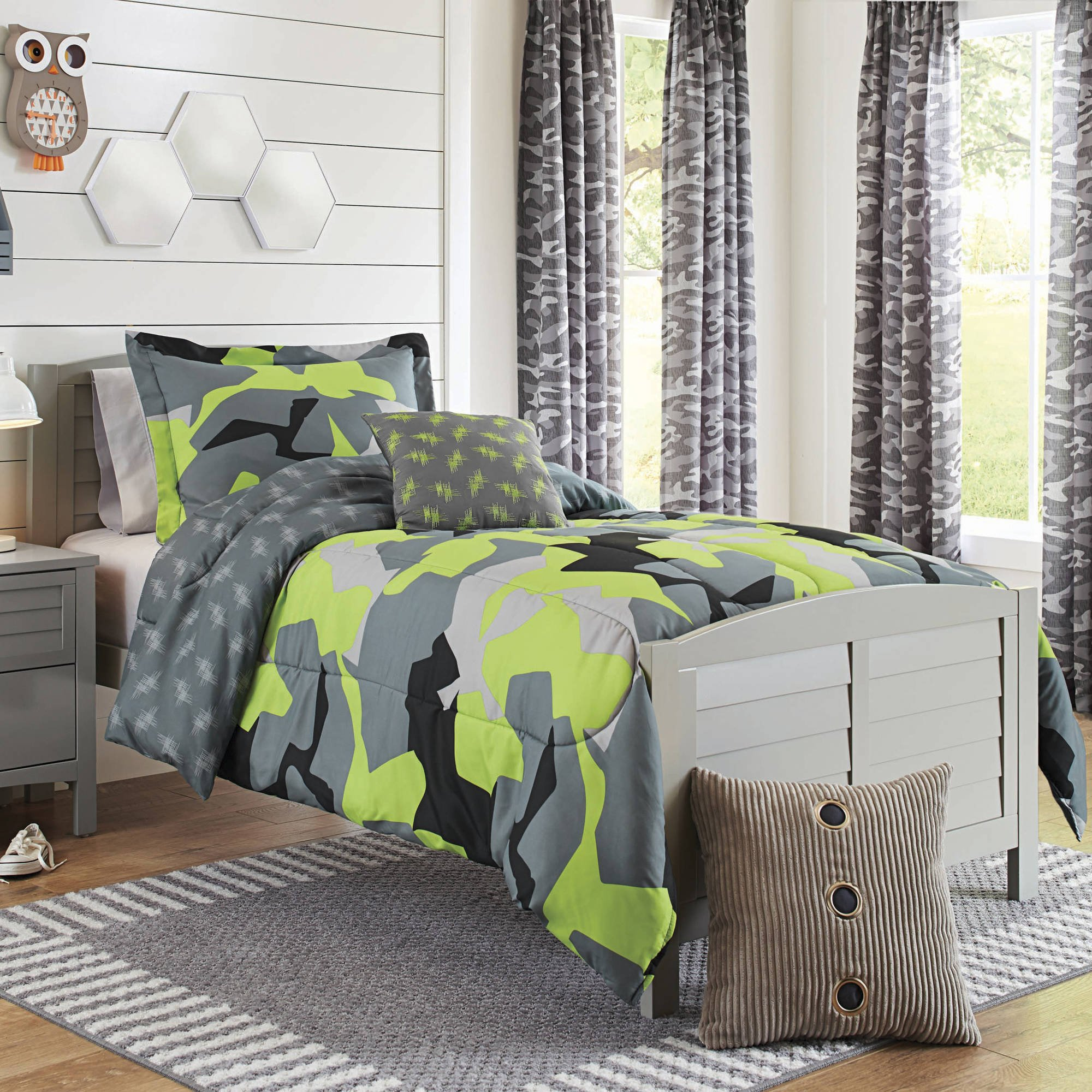 ON 4 Piece Boys Lime Grey Black Camo Comforter Full Queen Set, Multi Camouflage Pattern Army Themed Stylish Green Plaid Design Kids Bedding Teen Bedroom, Reversible Solid Grey Color Trendy, Polyester