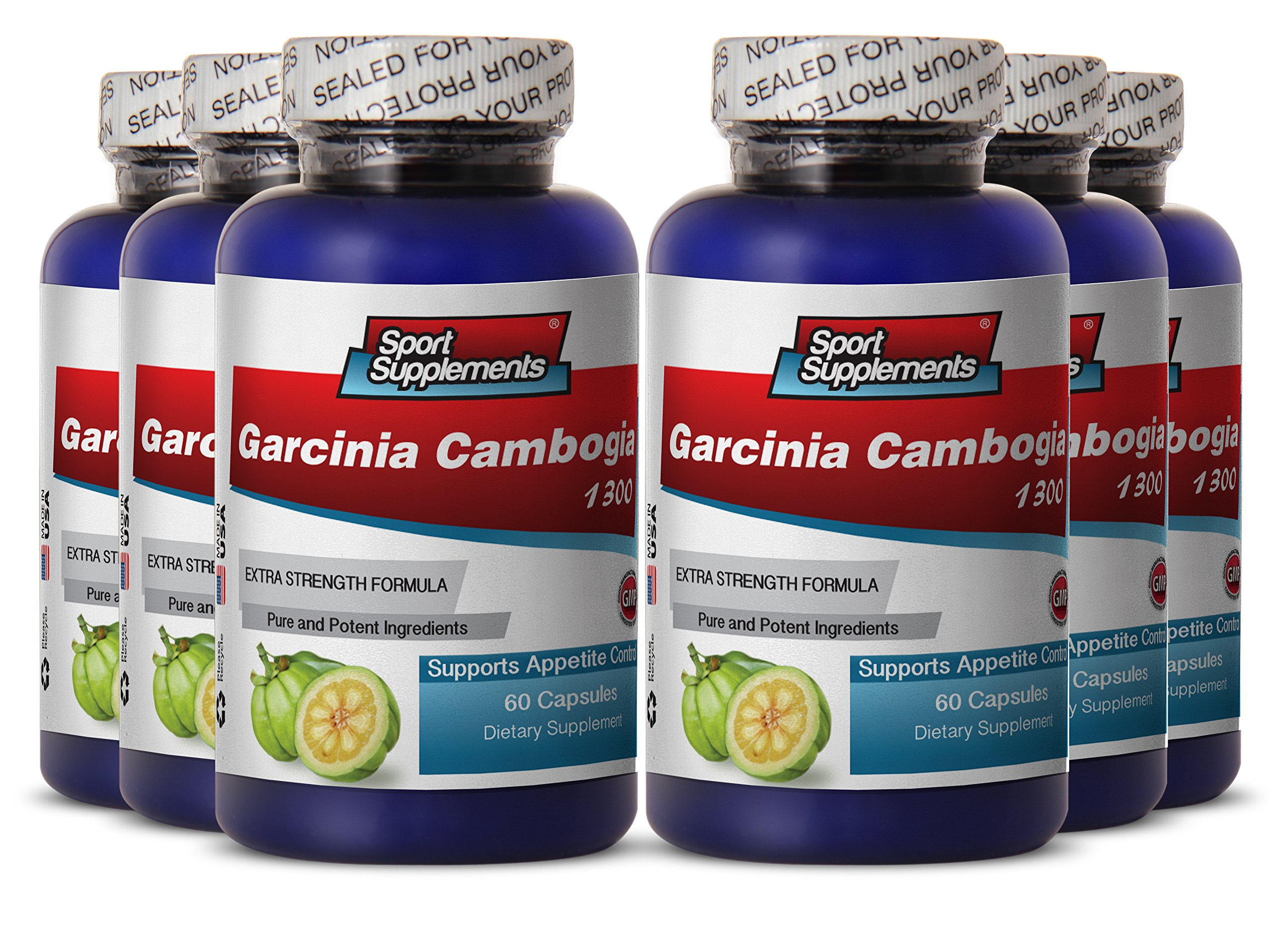 Garcinia pills - Garcinia Cambogia 1300 - Weight loss fat burner for women (6 Bottles 360 Capsules)