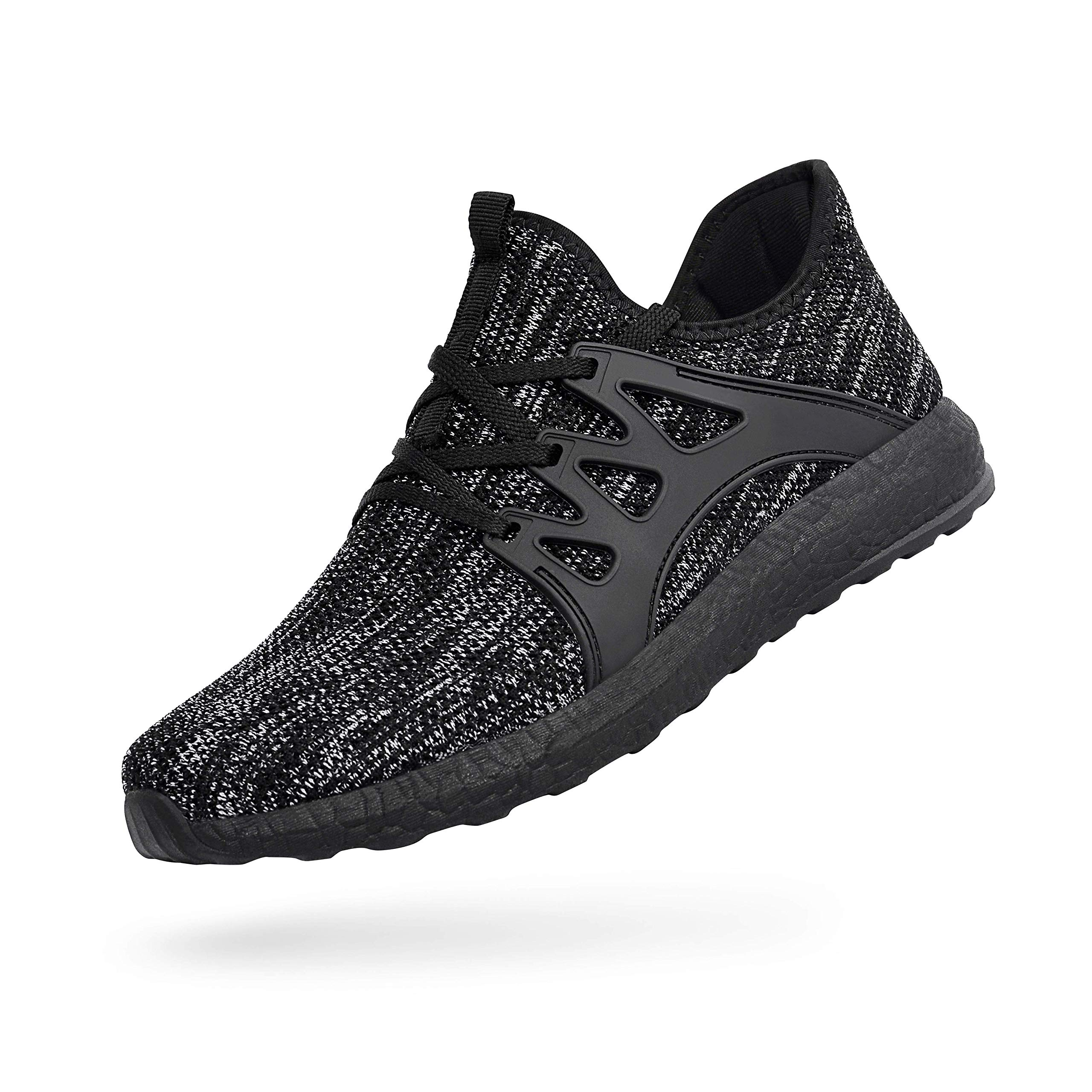 QANSI Men's Training Sneakers Gray/Black Athletic Running Shoes Breathable Mesh Causal Work Shoes - Size 12