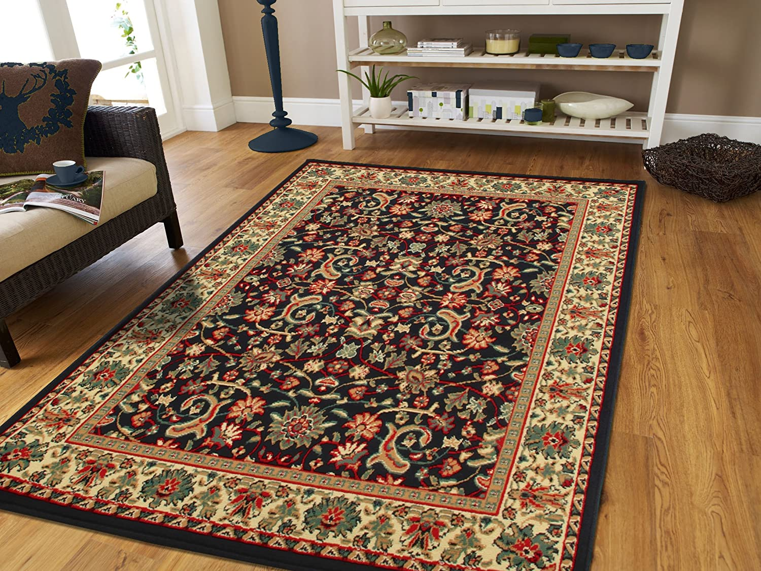 Red Persian Rugs for Living Room 5x8 Red Rugs for Bedroom & Office Rug Reds  Green, Cream, Black Area Rugs 5x7 Under 50