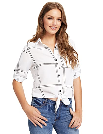 0b0f8b352 Floerns Women's Rolled Sleeve Button Down Checked Knot Front Blouse Tops  White S