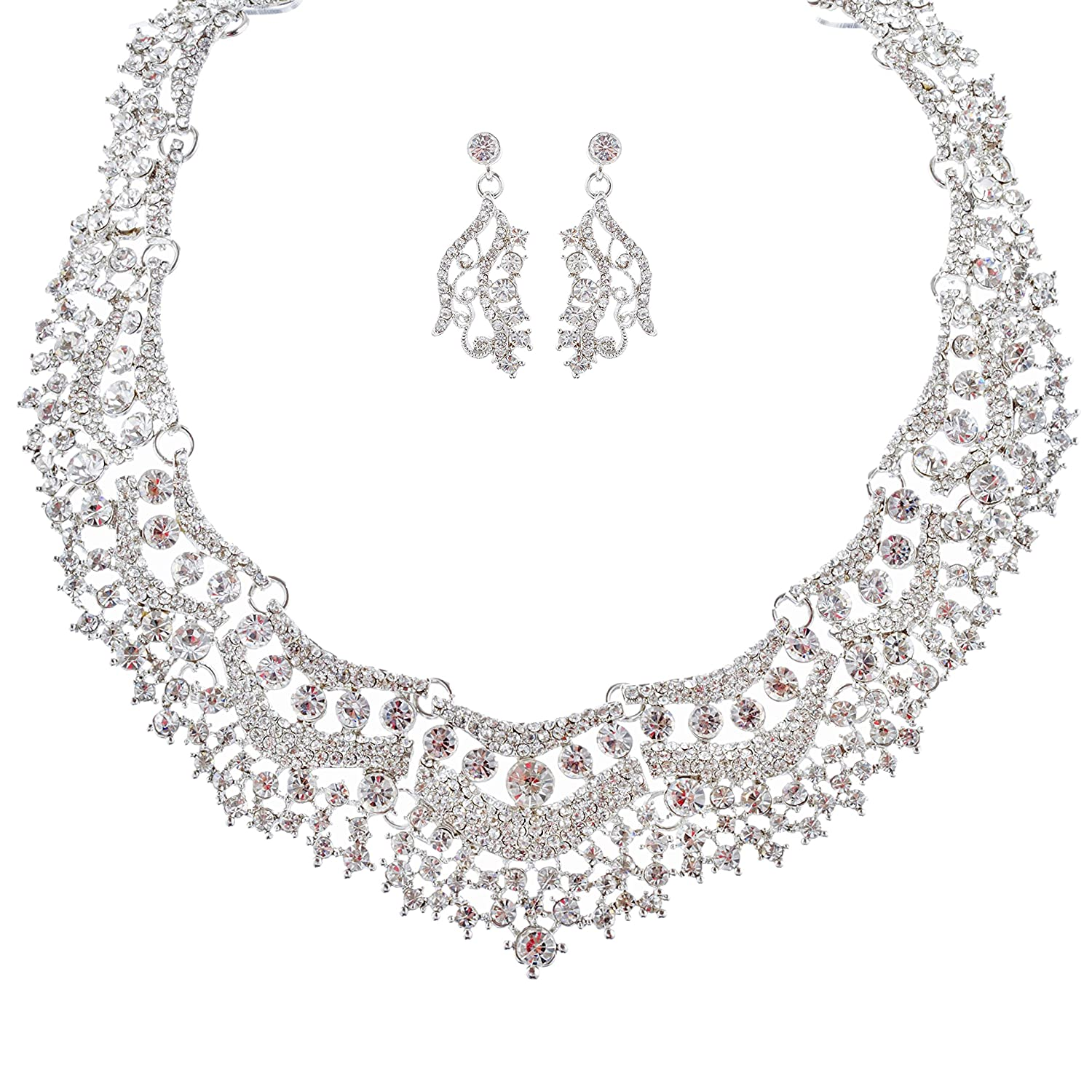 Amazon ACCESSORIESFOREVER Bridal Wedding Prom Jewelry Set