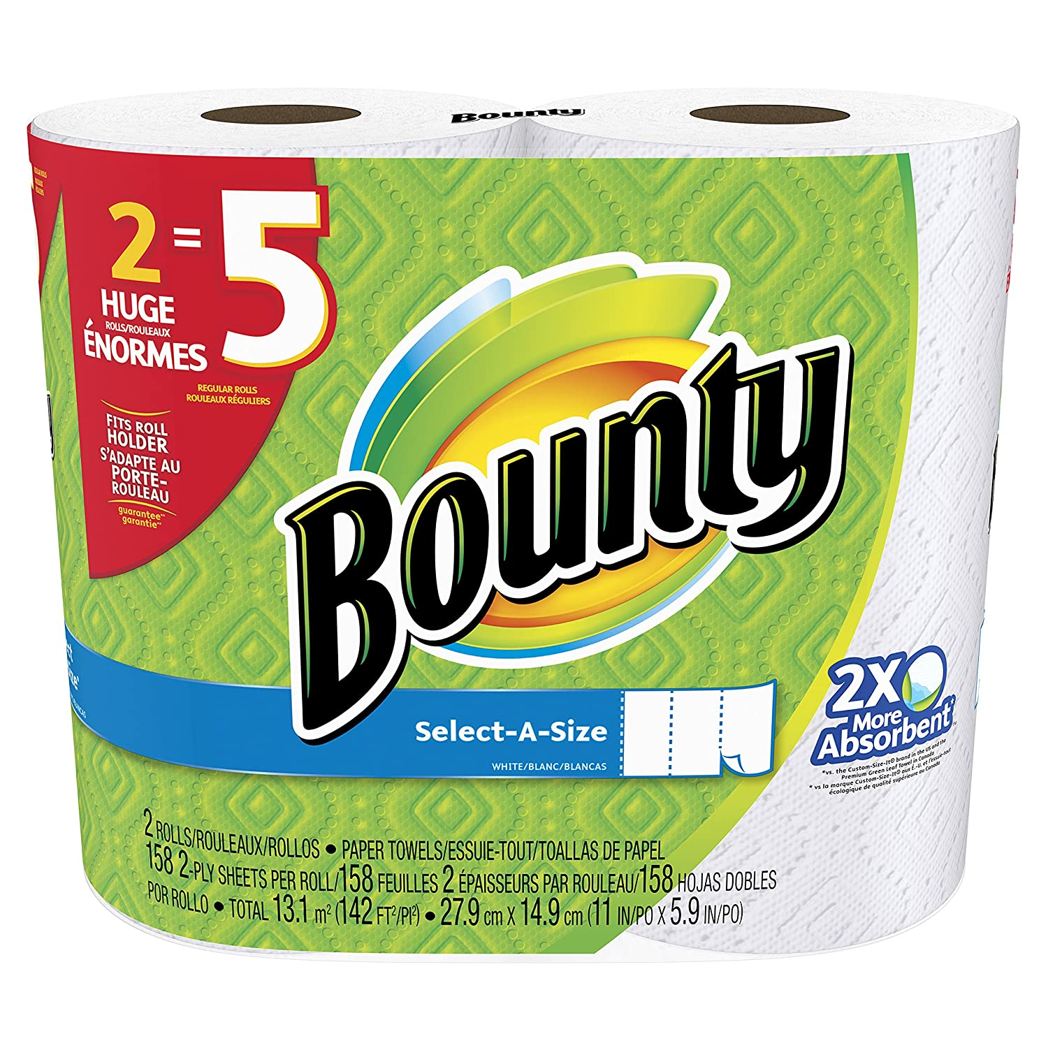 Image result for Bounty Select-a-Size Paper Towels, White, 12 Huge Rolls