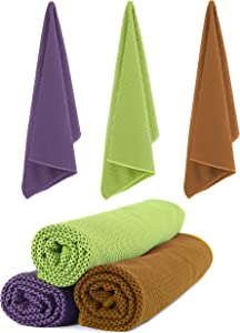FEEL2NICE 3 Pack Cooling Towels,Yoga Towel,Sport Towel,Quick Dry,Microfiber Towel,Chilly Towel Instant Cooling Relief,Super Absorbent for Yoga,Sport,Gym,Workout,Fitness,Running(Purple+Green+Yellow)