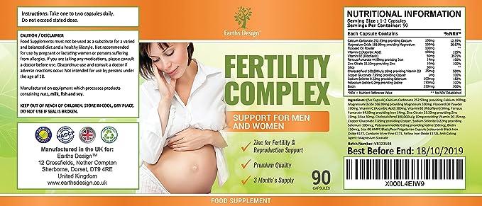 Vitaminas para Fertilidad - Suplemento Para Hombres y Mujeres - Con Zinc, Magnesio, Hierro, Calcio, Biotina, Vitamina B C D3-90 Tabletas (Suministro Para 3 ...