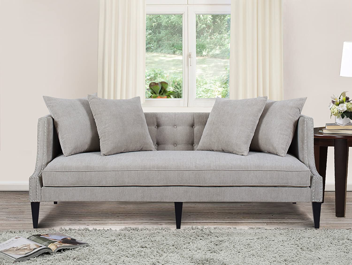 Amazon com jennifer taylor home caroline collection modern tuxedo style button tufted upholstered living room sofa with nailhead trim silver gray kitchen