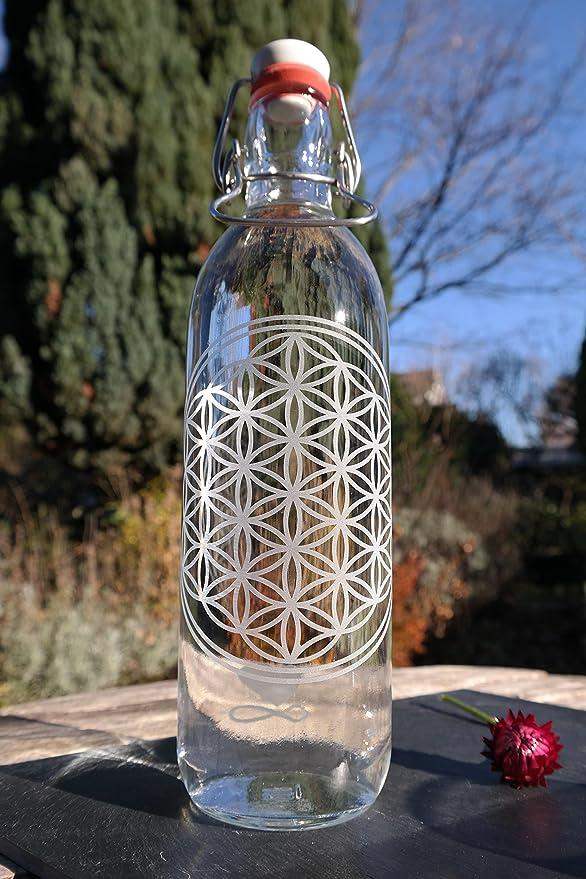 Freiglas 1,0l Botella de cristal * * 100% Sin plástico de la flor de la Vida, SOSTENIBLE, fabricado en Freiburg: Amazon.es: Hogar