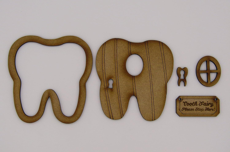 """Zubeh/ör mit der Aufschrift /""""Tooth Fairy zur Selbstmontage; Holz-Feent/ür-Kit mit Holzblume und Pilz Zahnfee-T/ür 3D-Deko dreidimensional"""