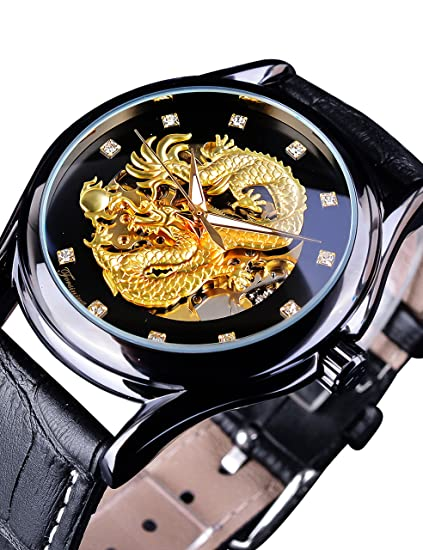 Forsining Dragon Collection Forsining Limited - Reloj de pulsera para hombre, esfera tallada de lujo, color dorado: Amazon.es: Relojes