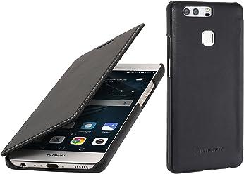 StilGut Book Type, Housse en Cuir sans Clip pour Huawei P9, en Noir Nappa