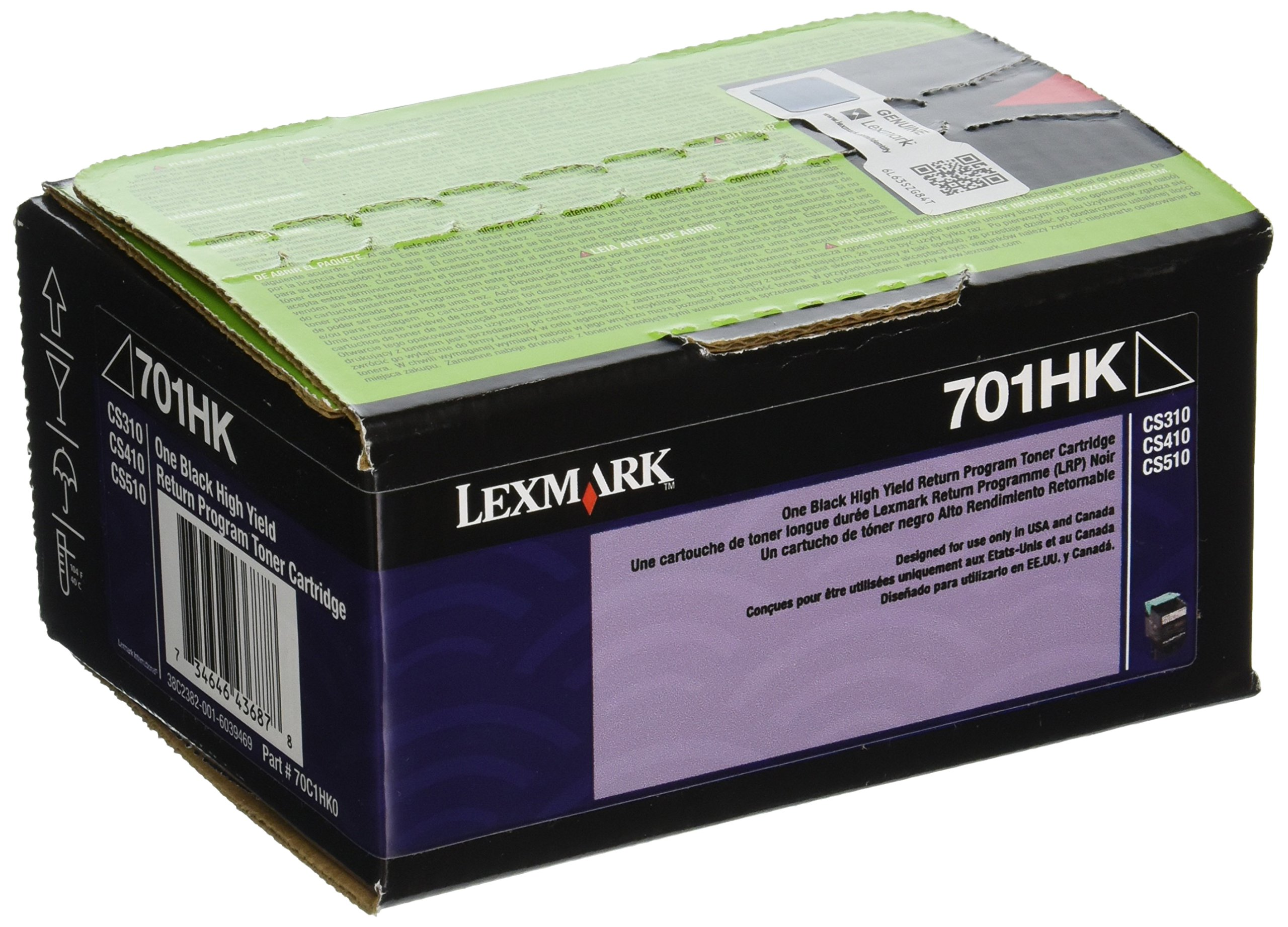 Lexmark 70C1HK0 701HK CS310, CS410, CS510 Black High Yield Return Program Toner Cartridge