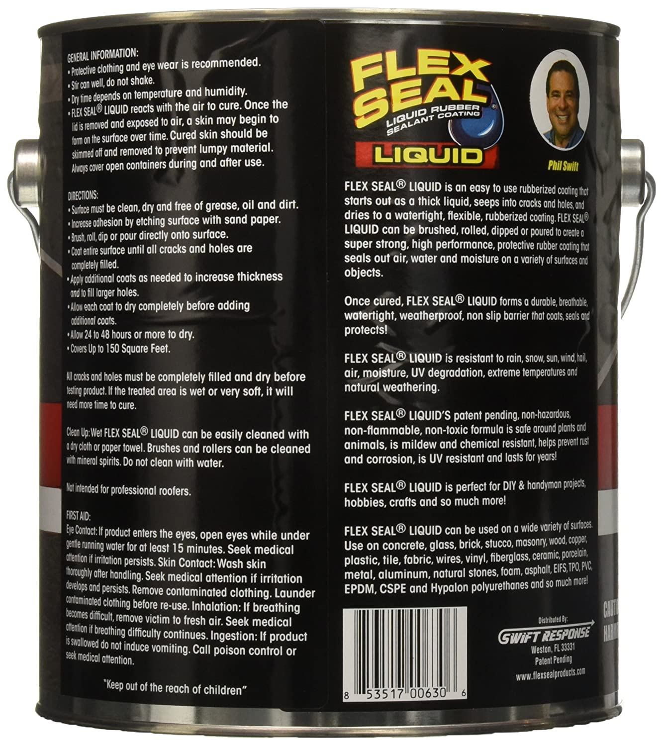 Flex Seal Liquid Giant Gallon Black  Amazoncom - Custom vinyl decal application fluid recipe