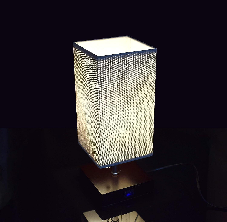 Nachttischlampe Tischlampe aus Holz Esszimmer Eckig Dunkelgrau mit Zugschalter Stehlampe auf Tisch E27-Fassung /& EU-Stecker Warmwei/ß f/ür Wohnzimmer Kinderzimmer Schlafzimmer