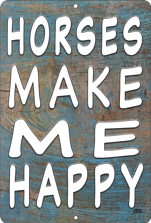 Rogue River Tactical Funny Horses Make Me Happy Metal Tin Sign Wall Decor Country Farm Ranch Decor