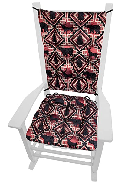 Larston Brick Rocking Chair Cushions Size Extra Large Rocker Seat Cushion Back Rest Pad Lodge Decor