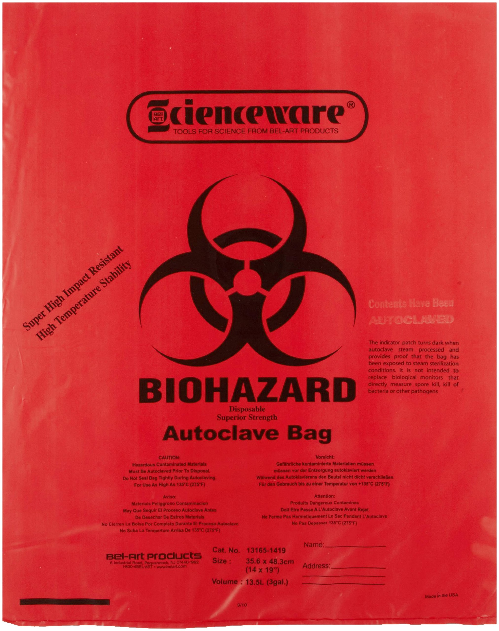 Bel-Art F13165-1419 Polypropylene 2-4 Gallon Super Strength Red Biohazard Disposal Bags with Warning Label/Sterilization Indicator, 14W x 19 in. H, 2.0mil Thick (Pack of 200)