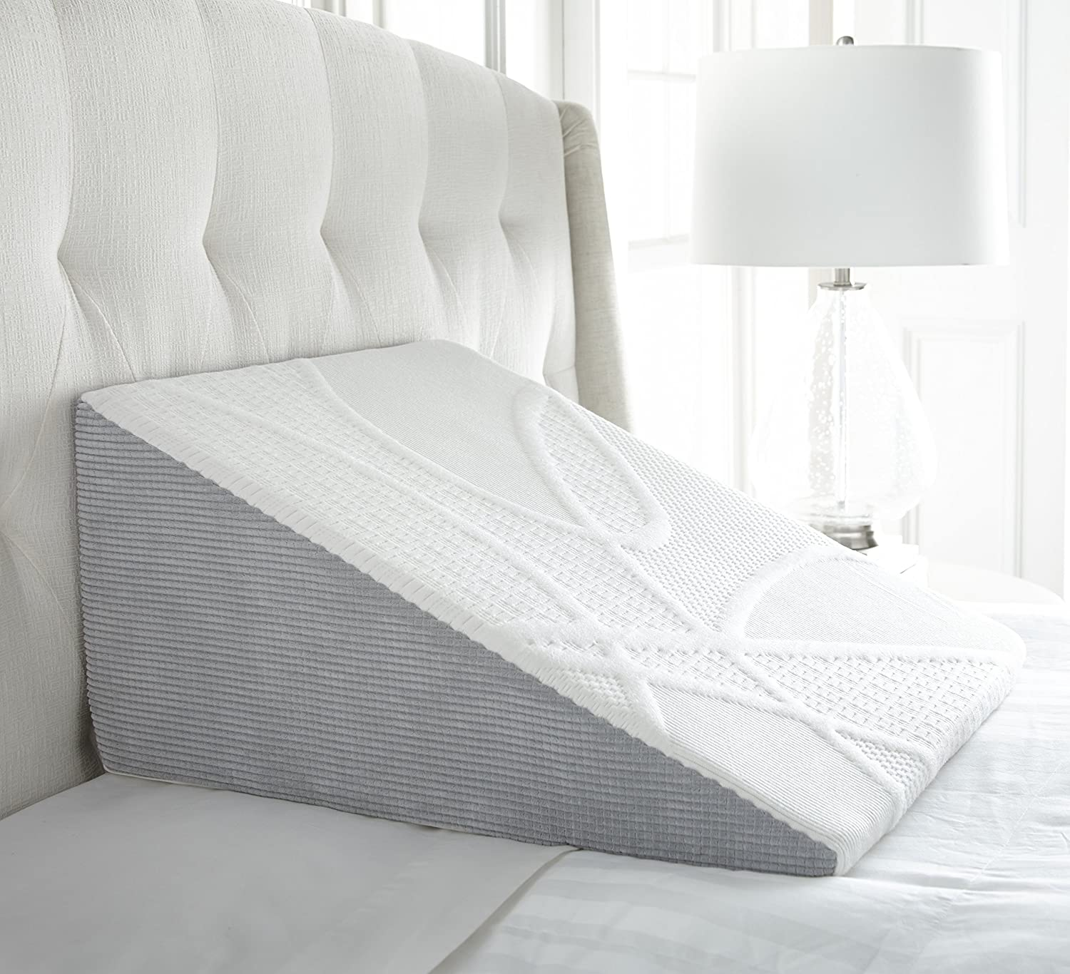 Featuring a Chenille and Knit Combo Cover and Ultra-Comfortable Memory Foam for a Superior Resting Experience PC-WEDGE7 Perfect Cloud Plush 7-Inch Tall Bed Wedge Pillow