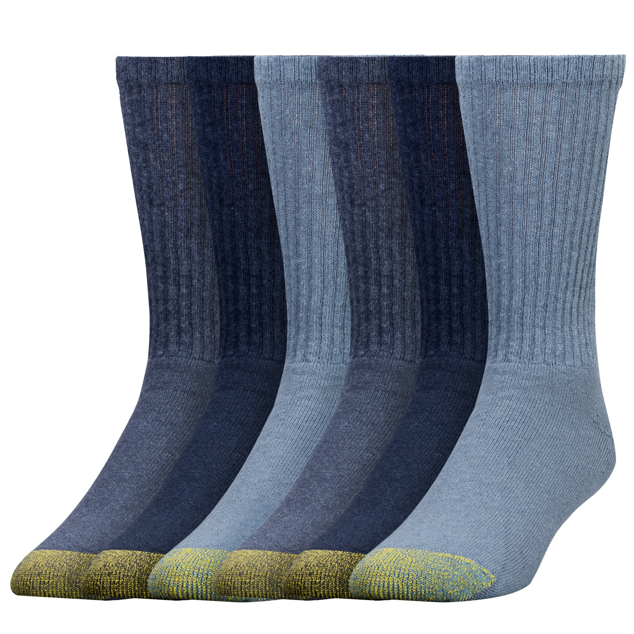 Gold Toe Men's 6-Pack Cotton Crew Athletic Sock, Assorted Blues, 10-13 (Shoe Size 6-12.5)