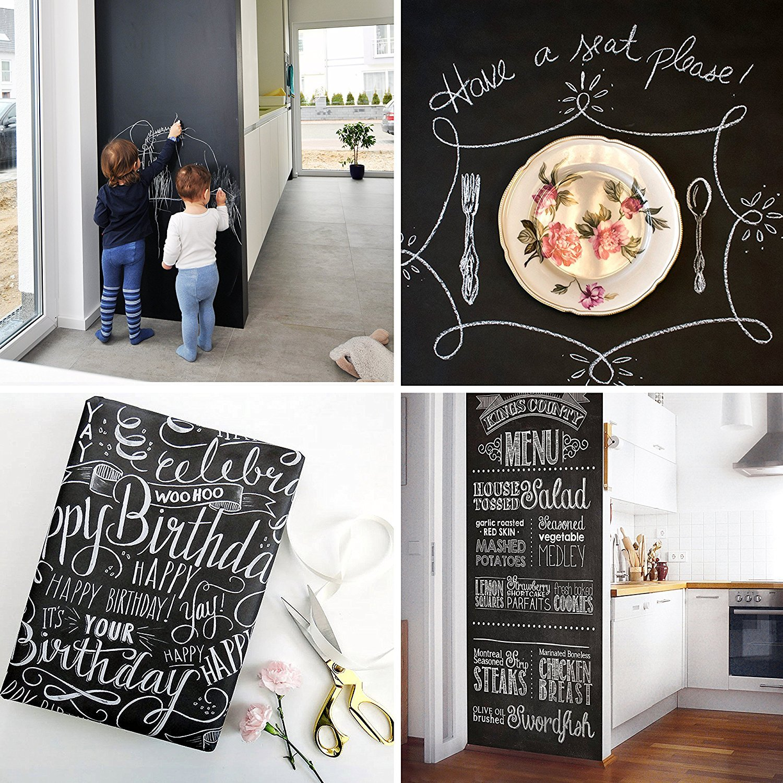 Blackboard Roll Adhesive Board Paint w//Bonus Chalks Peel and Stick DIY Wallpaper Sizes 17.8 X 216.5 18 FEET Extra Large Super Long Black Matte Chalkboard Contact Paper Vinyl Wall Decal Poster